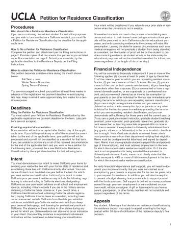 UCLA Petition for Residence Classification - Registrar - UCLA