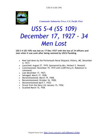 USS S-4 (SS 109) December 17, 1927 - 34 Men Lost - ColumbusBase