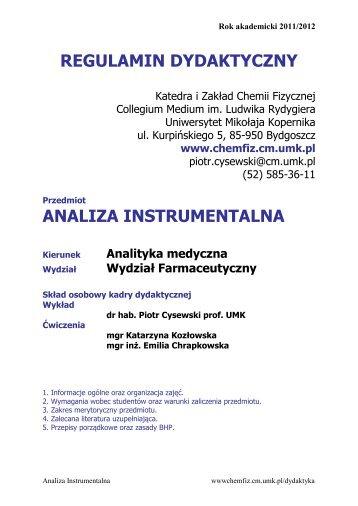 analiza instrumentalna - Katedra i Zakład Chemii Fizycznej ...
