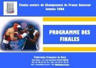 PROGRAMME DES FINALES - Fédération Française de Boxe