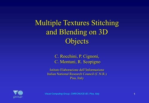 Multiple Textures Stitching and Blending on 3D Objects