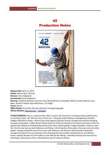 42 Production Notes - Visual Hollywood