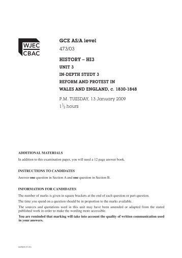 gce asa level 47303 history hi3 - Periodic Table A Level Wjec