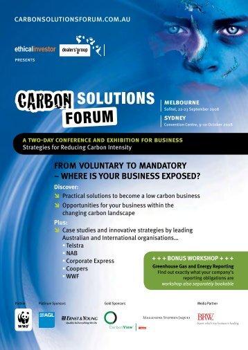 Carbon Solutios Forum brochure - Sustainable Melbourne