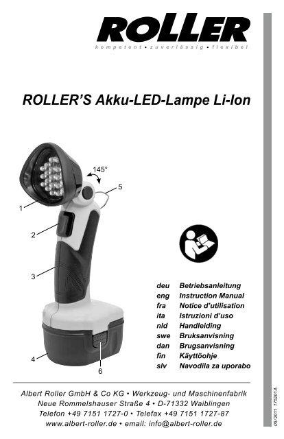 roller 39 s akku led lampe li ion albert roller. Black Bedroom Furniture Sets. Home Design Ideas