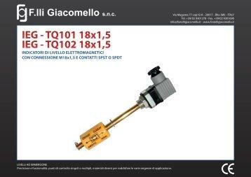IEG - TQ101 18x1,5 IEG - TQ102 18x1,5 - F.lli Giacomello