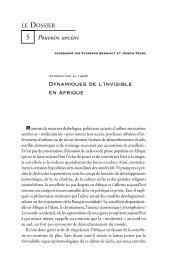 Dynamiques de l'invisible en Afrique - Politique Africaine