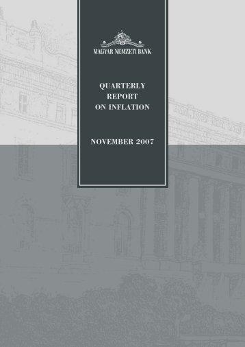 QUARTERLY REPORT ON INFLATION NOVEMBER 2007 - EPA