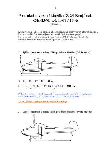 Protokol o vážení kluzáku Z-24 Krajánek