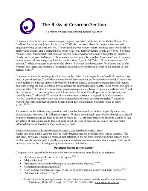 The Risks of Cesarean Section - Coalition for Improving Maternity ...