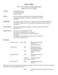 Notice of Race June 14, 15, 16 17, 2007 Venue - Inland Lake ...