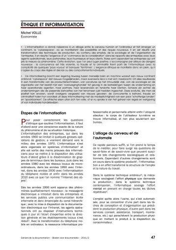 Éthique et informatisation - ABD-BVD