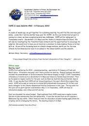 HOPE E-news Bulletin #30 – 8 February 2010 Office news