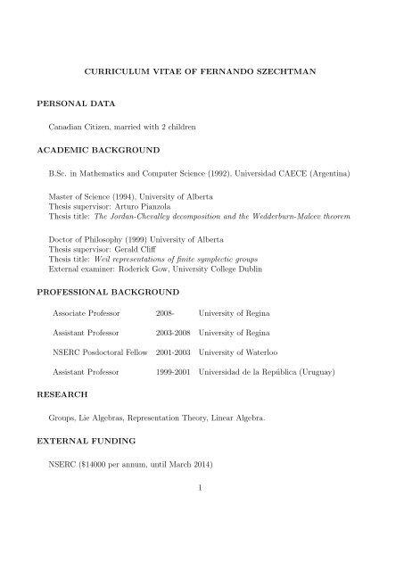 Curriculum Vitae Of Fernando Szechtman Personal