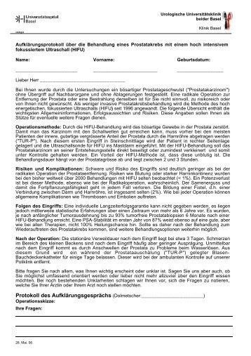 Ihre Fragen - Urologische Klinik Basel