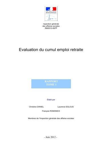 Evaluation du cumul emploi retraite - La Documentation française