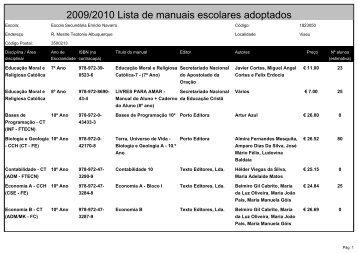 2009/2010 Lista de manuais escolares adoptados - ESEN - Viseu