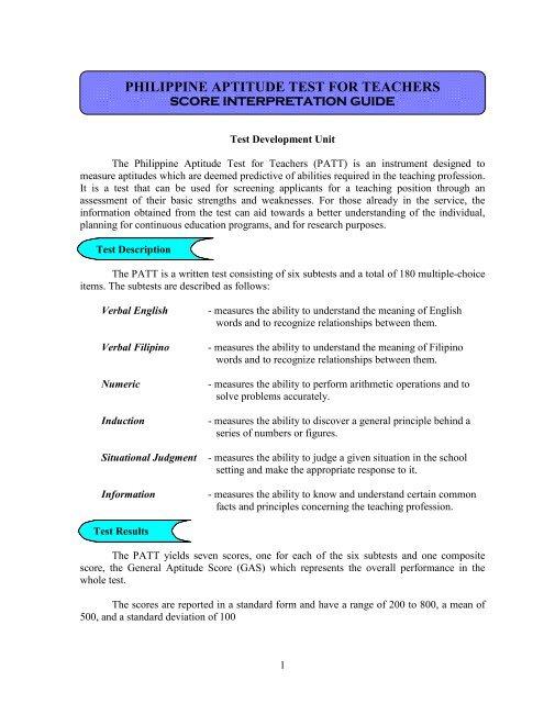 Philippine Aptitude Test For Teachers Center For