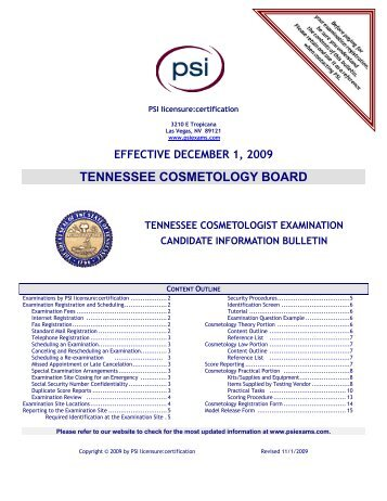 TENNESSEE COSMETOLOGY BOARD - PSI