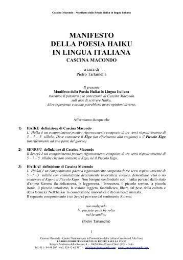 Manifesto della Poesia Haiku in Lingua Italiana - Cascina Macondo