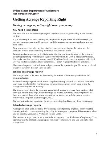 Getting Acreage Reporting Right - Risk Management Agency