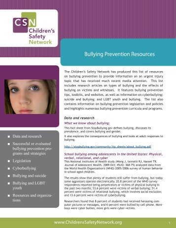 Bullying Prevention Resources - Children's Safety Network