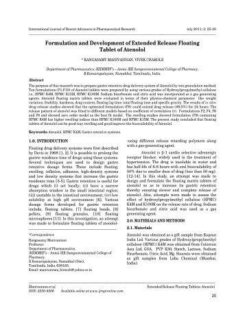 Formulation and Development of Extended Release Floating Tablet ...
