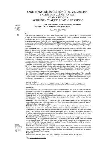 Sadri Maksudi'nin Hayatı ve Maksudi'nin Az Bilinen - Sosyal Bilimler ...