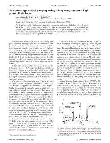 Spin-exchange optical pumping using a frequency-narrowed high ...