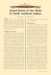 Annual Review of New Books by Pacific Northwest Writers