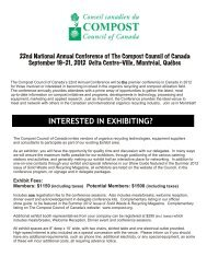 INTERESTED IN EXHIBITING? - Compost Council of Canada
