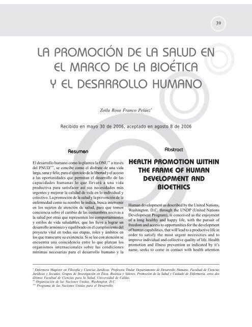 La promoción de la salud en el marco de la bioética - Hacia la ...
