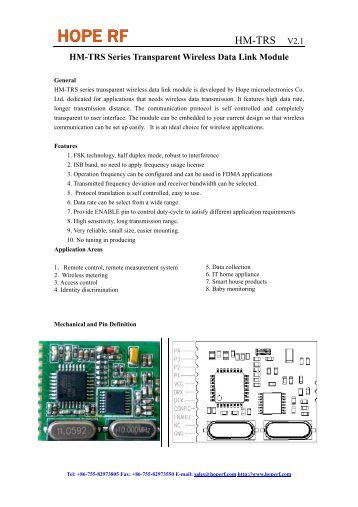 HM-TR Series Transparent Wireless Data Link Module - HOPE ...