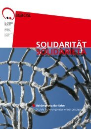 Bekämpfung der Krise Soziale Sicherungsnetze enger ... - SGB - CISL