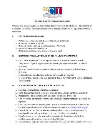 Solicitud de Fellowship Graduado - Caribbean University