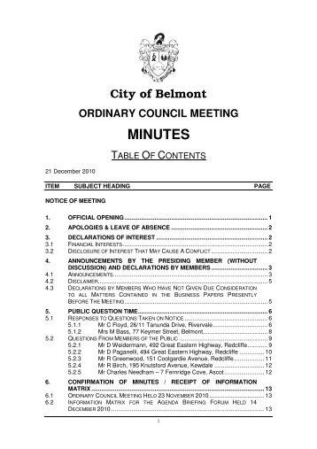 ordinary council meeting minutes - City Of Belmont