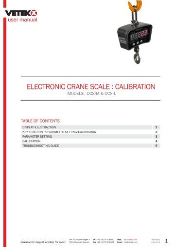 Electronic crane Scale Manual