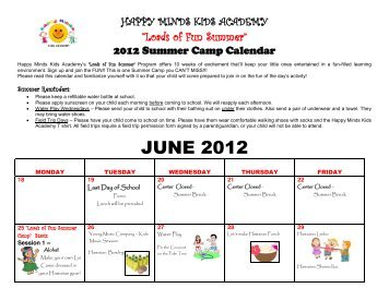 to view) 2012 Summer Camp Calendar - Happy Minds Kids Academy