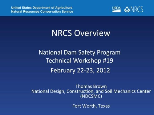 NRCS Overview - Association of State Dam Safety Officials