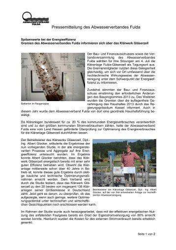 Pressemitteilung - Abwasserverband Fulda