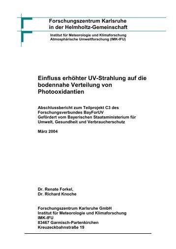 Einfluss erhöhter UV-Strahlung auf die bodennahe ... - IMK - IFU