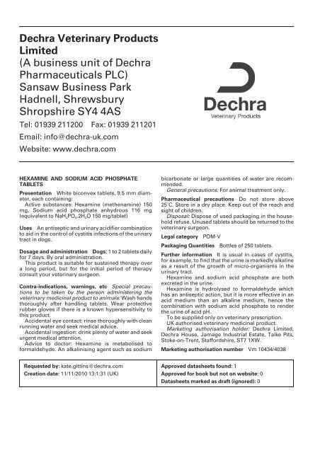 A business unit of Dechra Pharmaceuticals PLC - Dechra-US com