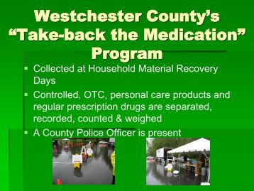 """Take-back the Medication"" Program - Westchester County ..."