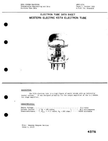 ELECTRON TUBE DATA SHEET WESTERN ELECTRIC 437A ...