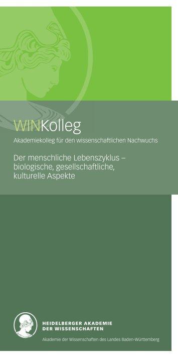 WINKolleg - Heidelberger Akademie der Wissenschaften ...