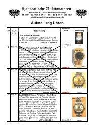 Aufstellung Uhren - Hanseatische Auktionatoren GmbH