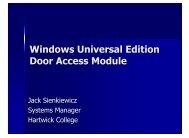 Windows Universal Edition Door Access Module - Hartwick College