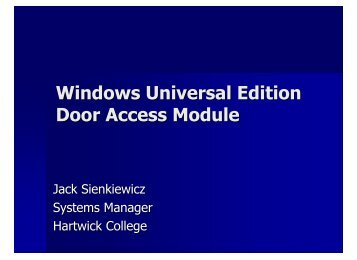 Windows Universal Edition Door Access Module - Hartwick College