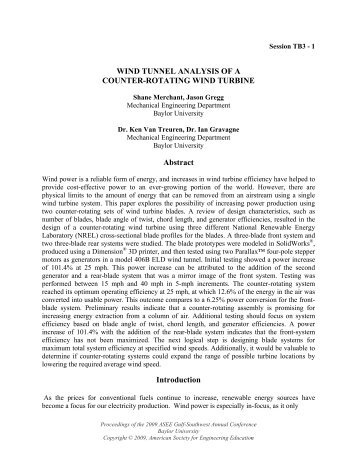 WIND TUNNEL ANALYSIS OF A COUNTER-ROTATING ... - ECS