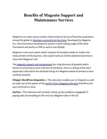 Benefits of Magento Support and Maintenance Services
